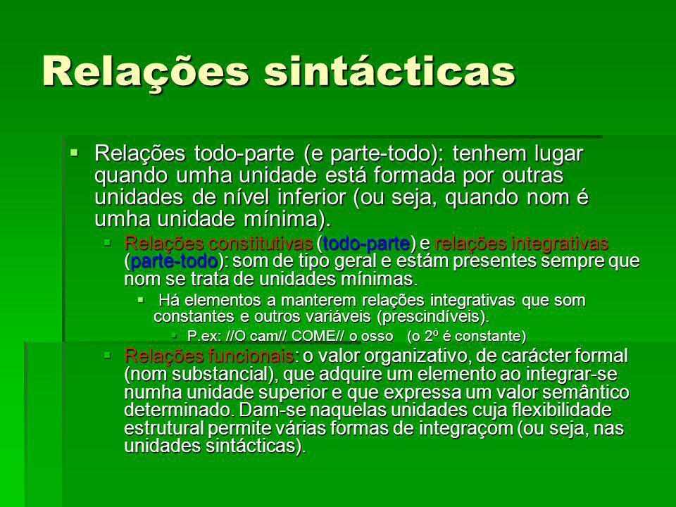 Relações sintácticas Relações todo-parte (e parte-todo): tenhem lugar quando umha unidade está formada por outras unidades de nível inferior (ou seja,