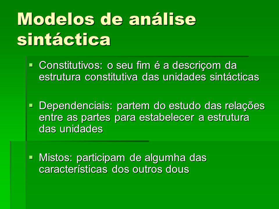 Modelos de análise sintáctica Constitutivos: o seu fim é a descriçom da estrutura constitutiva das unidades sintácticas Constitutivos: o seu fim é a d