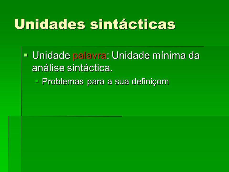 Unidades sintácticas Unidade palavra: Unidade mínima da análise sintáctica. Unidade palavra: Unidade mínima da análise sintáctica. Problemas para a su
