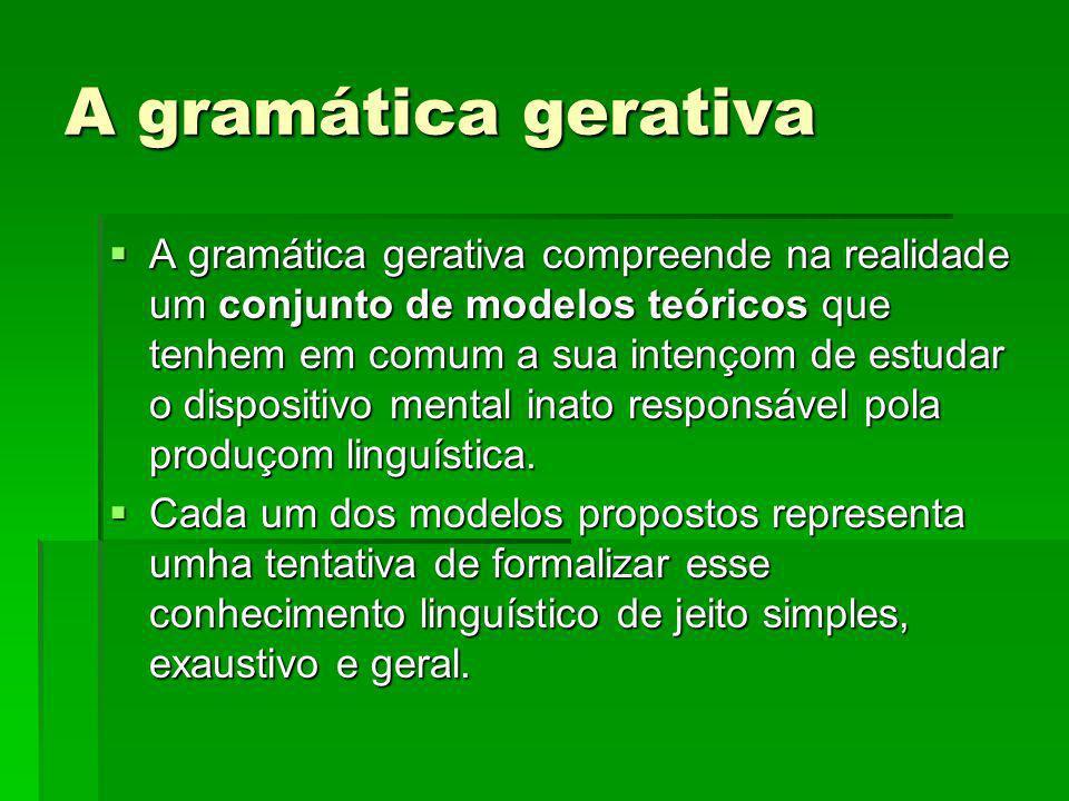 A gramática gerativa A gramática gerativa compreende na realidade um conjunto de modelos teóricos que tenhem em comum a sua intençom de estudar o disp