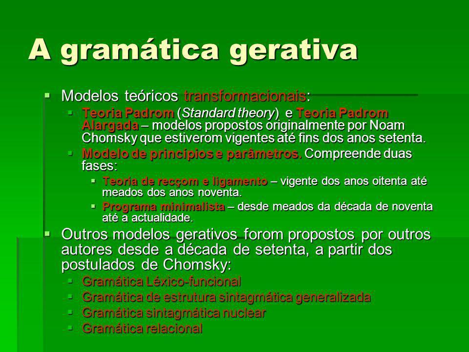 A gramática gerativa Princípios básicos do gerativismo: Princípios básicos do gerativismo: Existe umha gramática universal, responsável pola aquisiçom da linguagem, que fai parte da herdança genética da espécie humana.