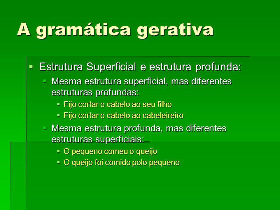 A gramática gerativa Valorizaçom: Valorizaçom: Na realidade, Jakobson já tinha procurado, no âmbito da Fonologia, as estruturas profundas -mais simples e de alcance mais geral- que geram mediante determinadas regras as complicações e ambiguidades das estruturas superficiais.