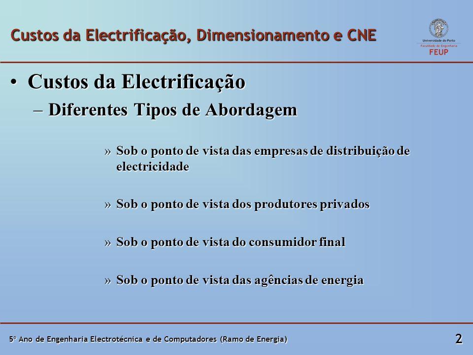 5º Ano de Engenharia Electrotécnica e de Computadores (Ramo de Energia) 2 Custos da Electrificação, Dimensionamento e CNE Custos da ElectrificaçãoCust