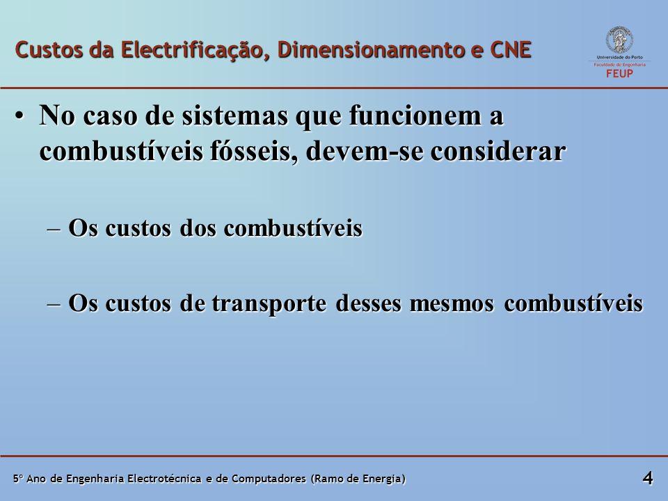 5º Ano de Engenharia Electrotécnica e de Computadores (Ramo de Energia) 4 Custos da Electrificação, Dimensionamento e CNE No caso de sistemas que func