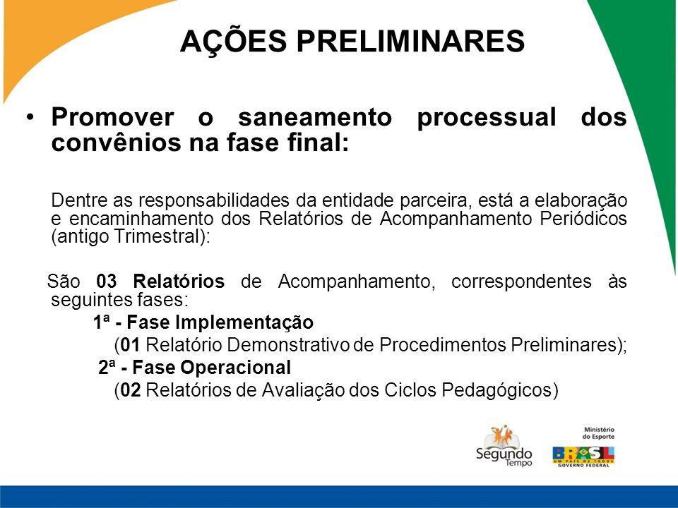 Promover o saneamento processual dos convênios na fase final: Dentre as responsabilidades da entidade parceira, está a elaboração e encaminhamento dos