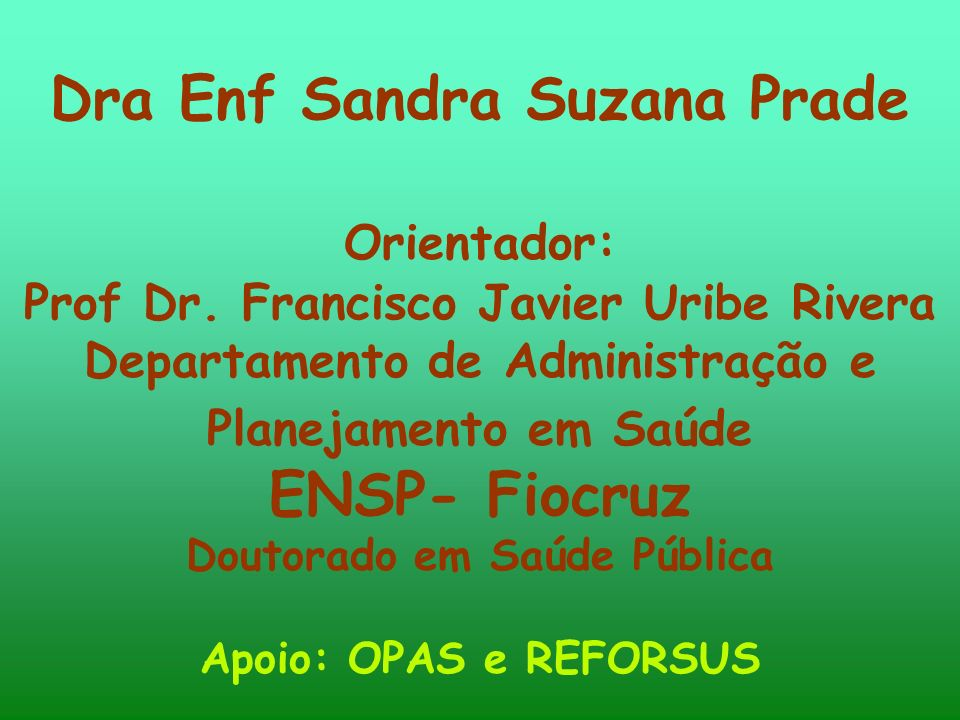 Dra Enf Sandra Suzana Prade Orientador: Prof Dr.