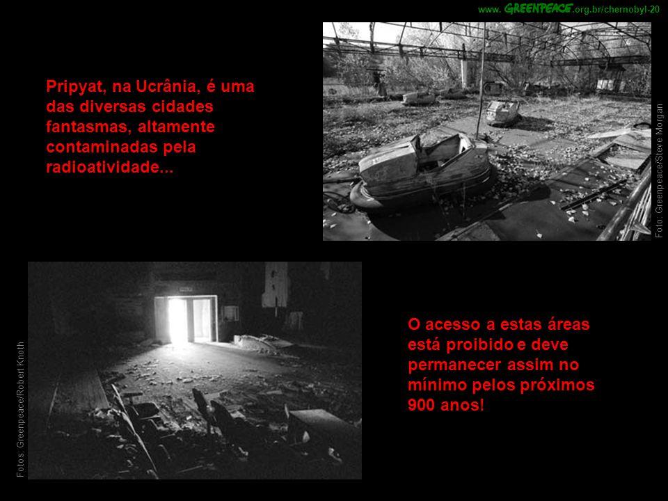 Pripyat, na Ucrânia, é uma das diversas cidades fantasmas, altamente contaminadas pela radioatividade...
