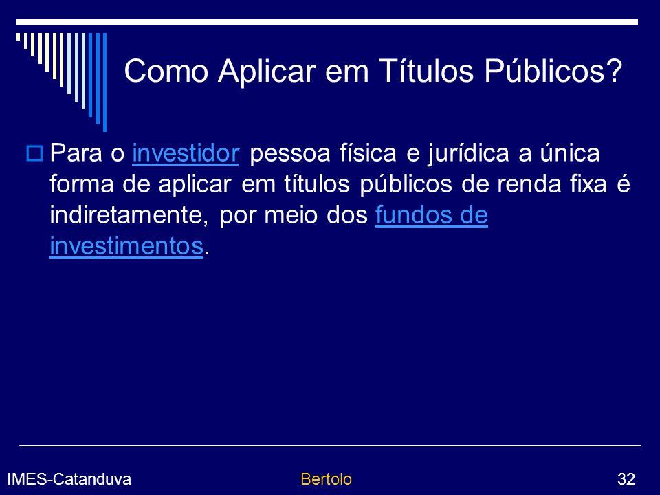 IMES-CatanduvaBertolo 32 Como Aplicar em Títulos Públicos.