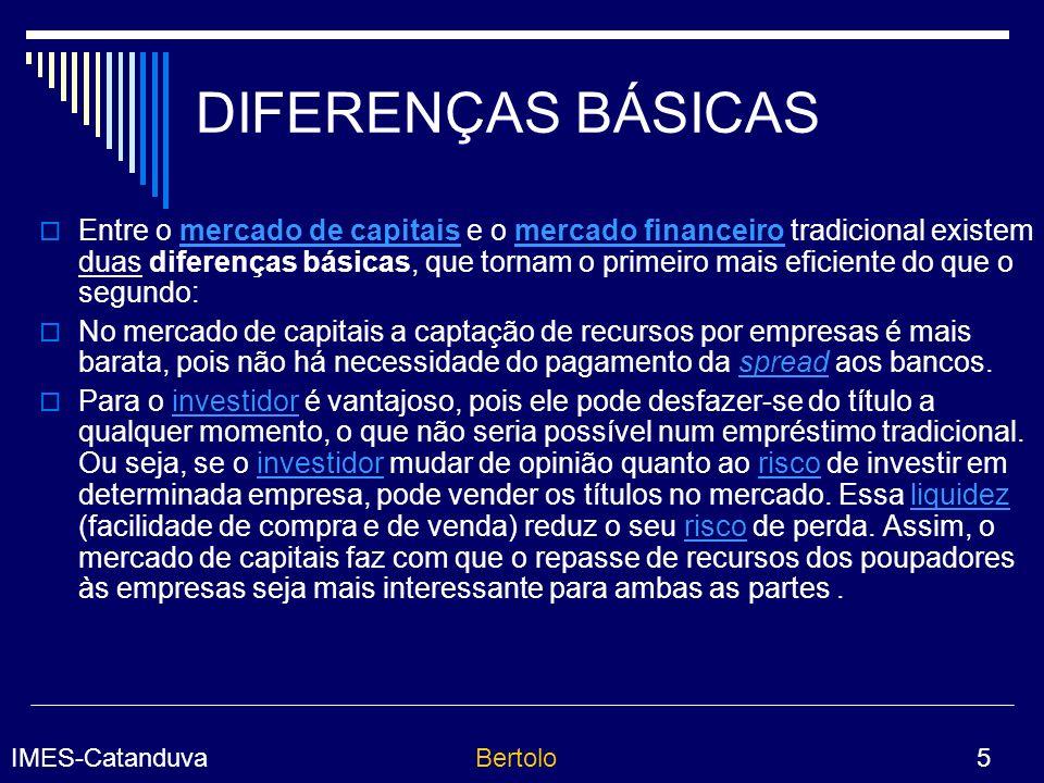 IMES-CatanduvaBertolo 16 BOVESPA A BOVESPA é a Bolsa de Valores de São Paulo, fundada em agosto de 1890.