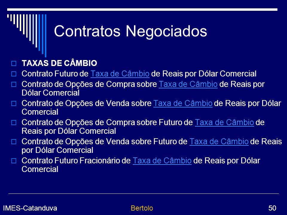 IMES-CatanduvaBertolo 50 Contratos Negociados TAXAS DE CÂMBIO Contrato Futuro de Taxa de Câmbio de Reais por Dólar ComercialTaxa de Câmbio Contrato de Opções de Compra sobre Taxa de Câmbio de Reais por Dólar ComercialTaxa de Câmbio Contrato de Opções de Venda sobre Taxa de Câmbio de Reais por Dólar ComercialTaxa de Câmbio Contrato de Opções de Compra sobre Futuro de Taxa de Câmbio de Reais por Dólar ComercialTaxa de Câmbio Contrato de Opções de Venda sobre Futuro de Taxa de Câmbio de Reais por Dólar ComercialTaxa de Câmbio Contrato Futuro Fracionário de Taxa de Câmbio de Reais por Dólar ComercialTaxa de Câmbio