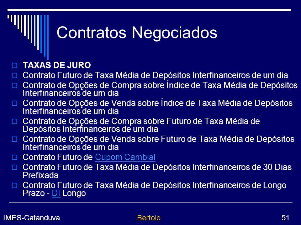 IMES-CatanduvaBertolo 51 Contratos Negociados TAXAS DE JURO Contrato Futuro de Taxa Média de Depósitos Interfinanceiros de um dia Contrato de Opções de Compra sobre Índice de Taxa Média de Depósitos Interfinanceiros de um dia Contrato de Opções de Venda sobre Índice de Taxa Média de Depósitos Interfinanceiros de um dia Contrato de Opções de Compra sobre Futuro de Taxa Média de Depósitos Interfinanceiros de um dia Contrato de Opções de Venda sobre Futuro de Taxa Média de Depósitos Interfinanceiros de um dia Contrato Futuro de Cupom CambialCupom Cambial Contrato Futuro de Taxa Média de Depósitos Interfinanceiros de 30 Dias Prefixada Contrato Futuro de Taxa Média de Depósitos Interfinanceiros de Longo Prazo - DI LongoDI