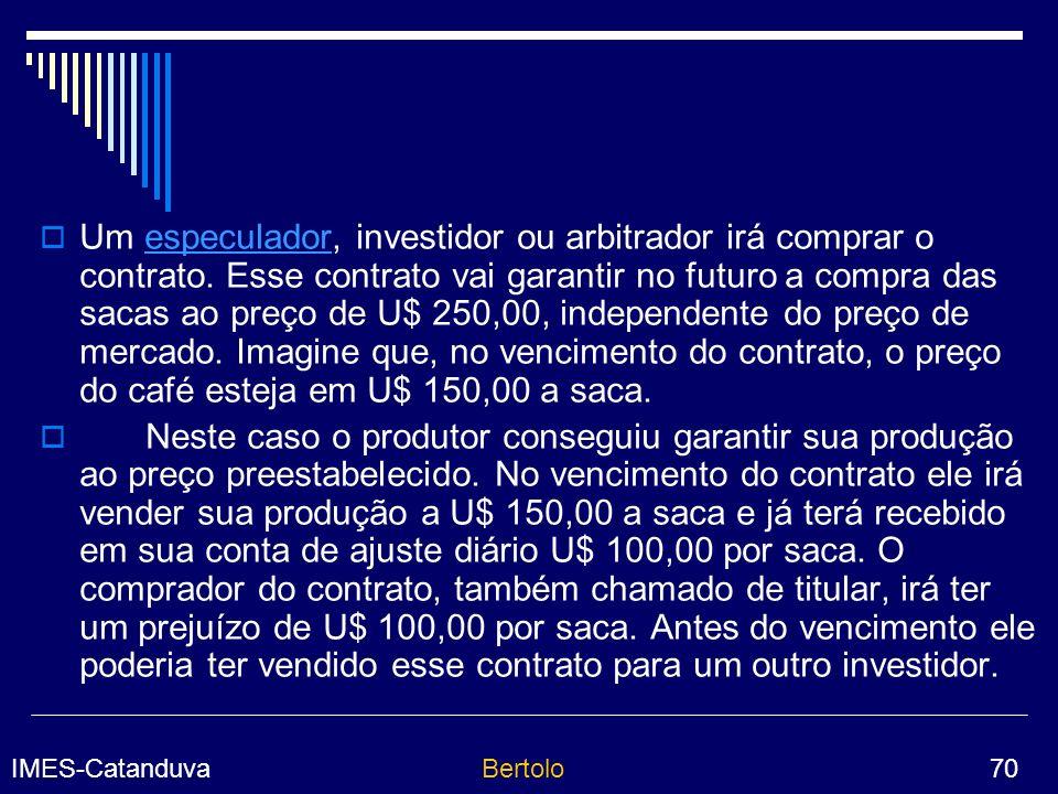 IMES-CatanduvaBertolo 70 Um especulador, investidor ou arbitrador irá comprar o contrato.