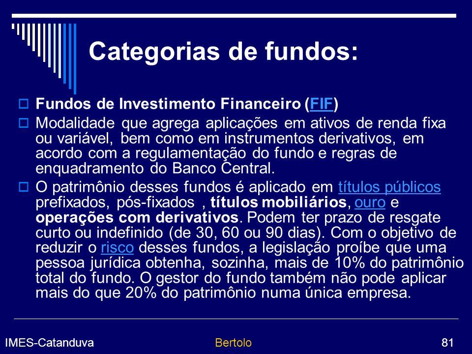 IMES-CatanduvaBertolo 81 Categorias de fundos: Fundos de Investimento Financeiro (FIF)FIF Modalidade que agrega aplicações em ativos de renda fixa ou variável, bem como em instrumentos derivativos, em acordo com a regulamentação do fundo e regras de enquadramento do Banco Central.
