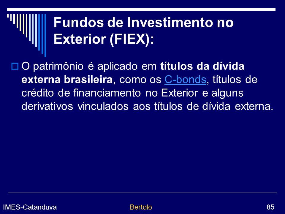 IMES-CatanduvaBertolo 85 Fundos de Investimento no Exterior (FIEX): O patrimônio é aplicado em títulos da dívida externa brasileira, como os C-bonds, títulos de crédito de financiamento no Exterior e alguns derivativos vinculados aos títulos de dívida externa.C-bonds