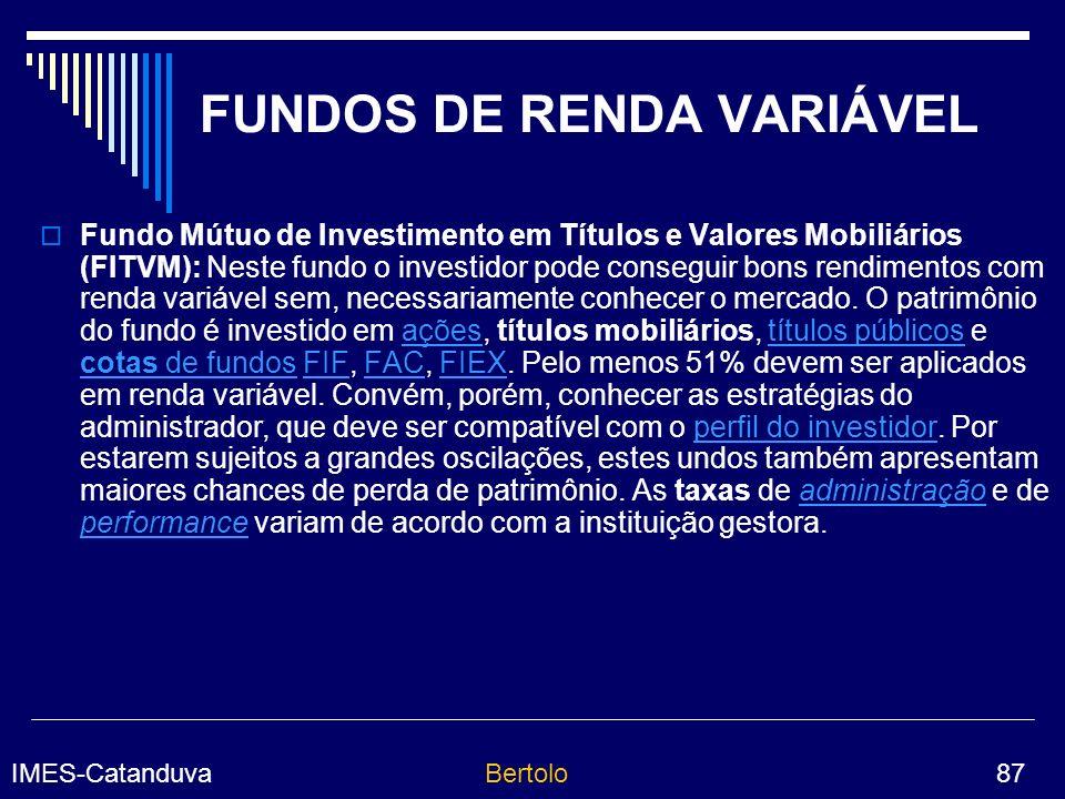 IMES-CatanduvaBertolo 87 FUNDOS DE RENDA VARIÁVEL Fundo Mútuo de Investimento em Títulos e Valores Mobiliários (FITVM): Neste fundo o investidor pode conseguir bons rendimentos com renda variável sem, necessariamente conhecer o mercado.