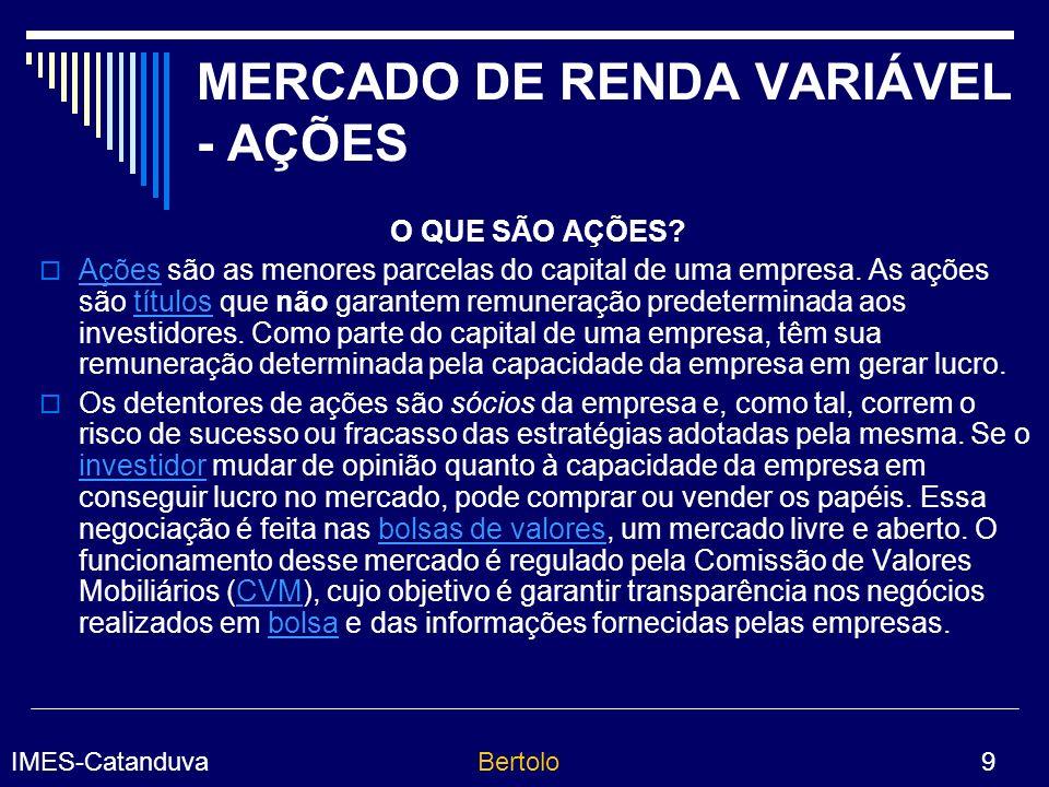 IMES-CatanduvaBertolo 20 MERCADO DE RENDA FIXA O mercado de renda fixa tem como característica a negociação de títulos de dívida, que permitem aos investidores receber a quantia emprestada (principal) mais juros previamente determinados.