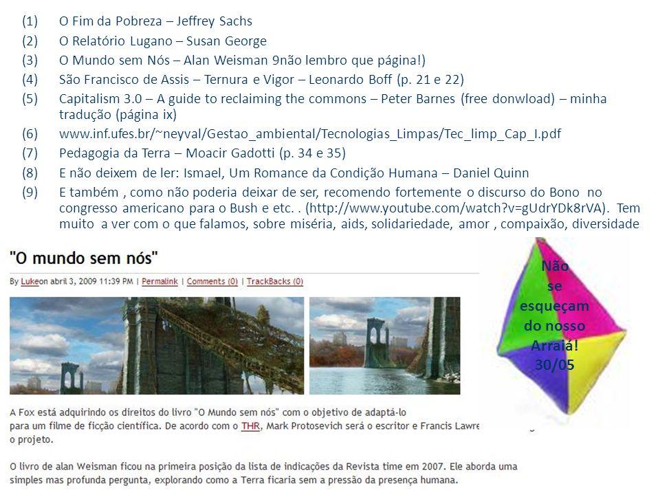 (1)O Fim da Pobreza – Jeffrey Sachs (2)O Relatório Lugano – Susan George (3)O Mundo sem Nós – Alan Weisman 9não lembro que página!) (4)São Francisco de Assis – Ternura e Vigor – Leonardo Boff (p.
