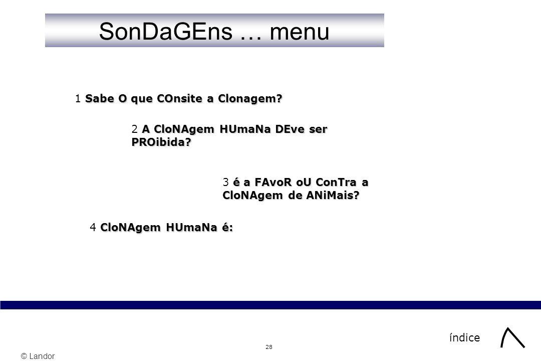 © Landor 28 SonDaGEns … menu índice Sabe O que COnsite a Clonagem? 1 Sabe O que COnsite a Clonagem? A CloNAgem HUmaNa DEve ser PROibida? 2 A CloNAgem