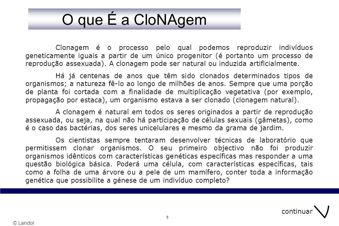 © Landor 5 Clonagem é o processo pelo qual podemos reproduzir indivíduos geneticamente iguais a partir de um único progenitor (é portanto um processo de reprodução assexuada).