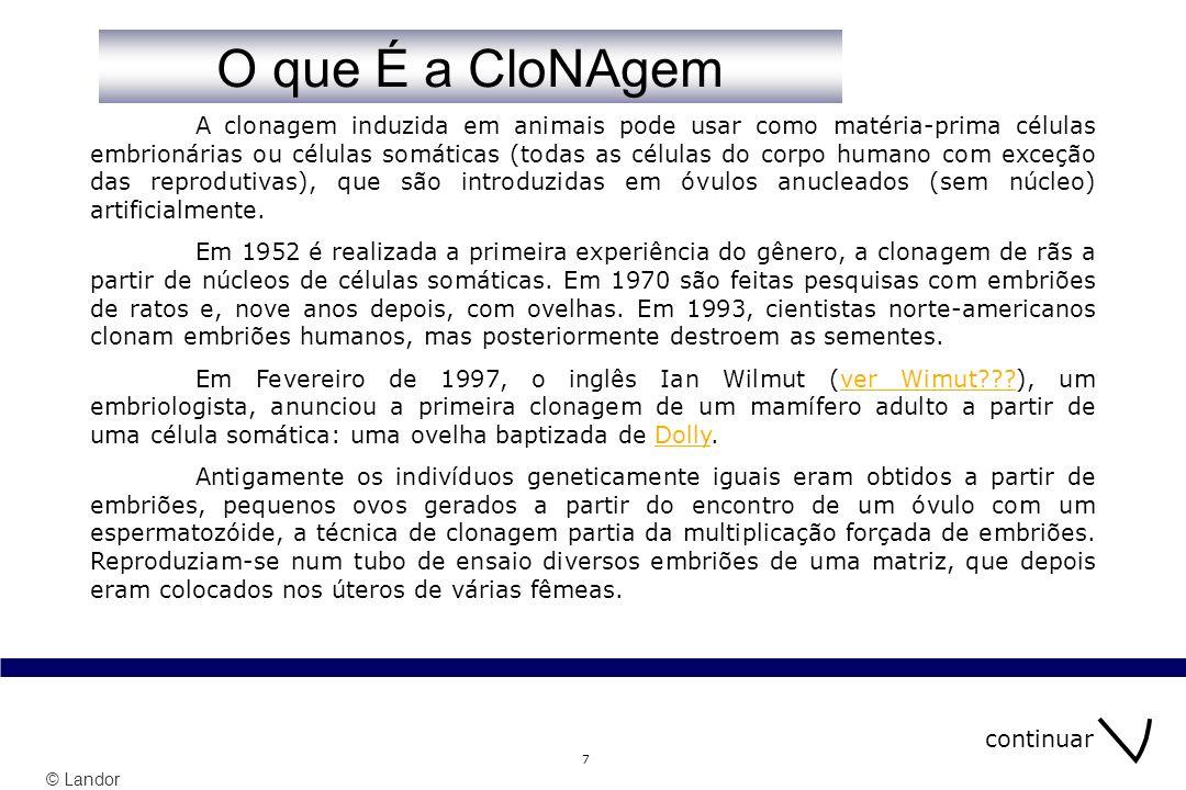 © Landor 28 SonDaGEns … menu índice Sabe O que COnsite a Clonagem.