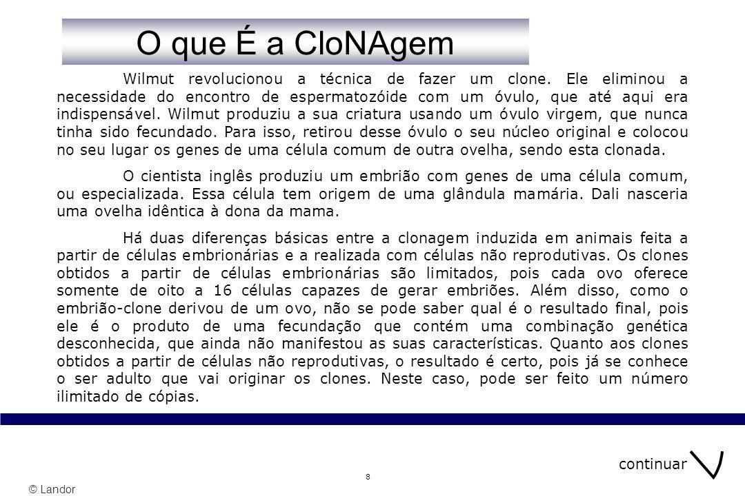 © Landor 29 índice Sabe O que COnsite a Clonagem.1 Sabe O que COnsite a Clonagem.