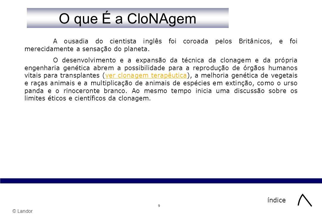 © Landor 30 índice Sabe O que COnsite a Clonagem.1 Sabe O que COnsite a Clonagem.