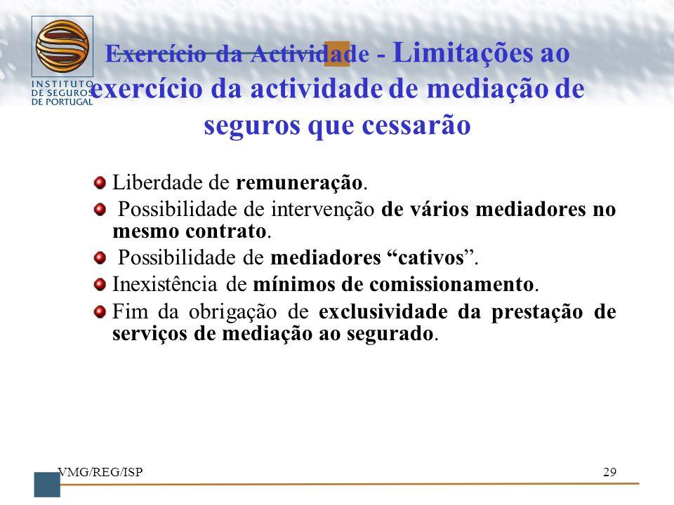 VMG/REG/ISP29 Exercício da Actividade - Limitações ao exercício da actividade de mediação de seguros que cessarão Liberdade de remuneração. Possibilid