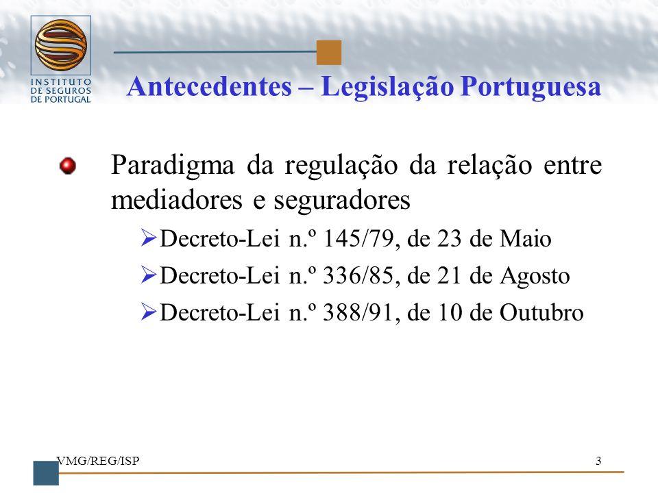 VMG/REG/ISP3 Antecedentes – Legislação Portuguesa Paradigma da regulação da relação entre mediadores e seguradores Decreto-Lei n.º 145/79, de 23 de Ma