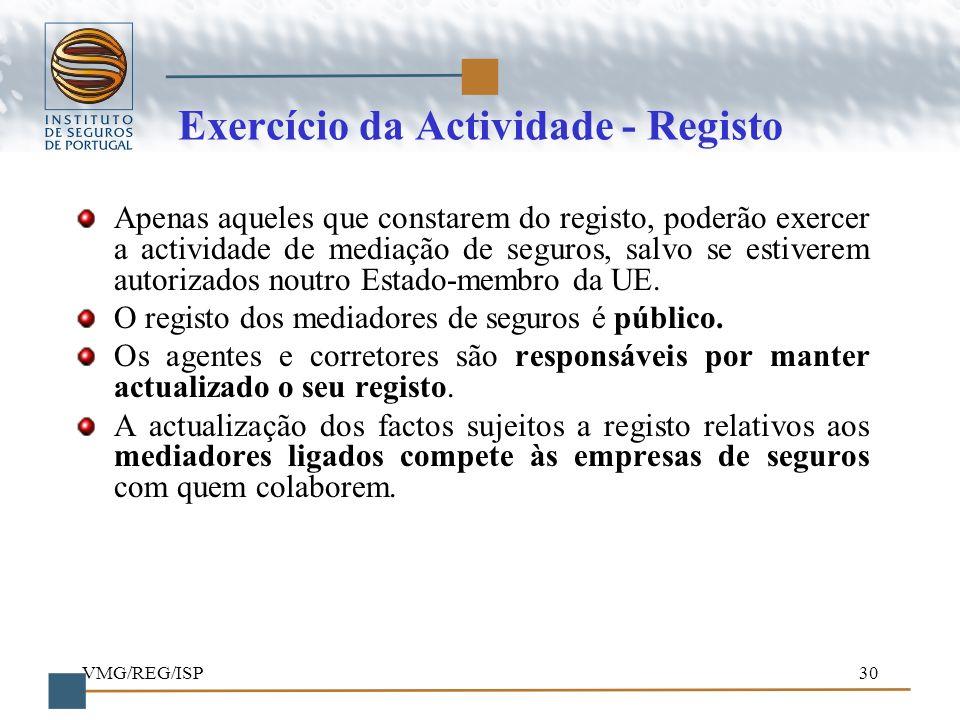VMG/REG/ISP30 Exercício da Actividade - Registo Apenas aqueles que constarem do registo, poderão exercer a actividade de mediação de seguros, salvo se
