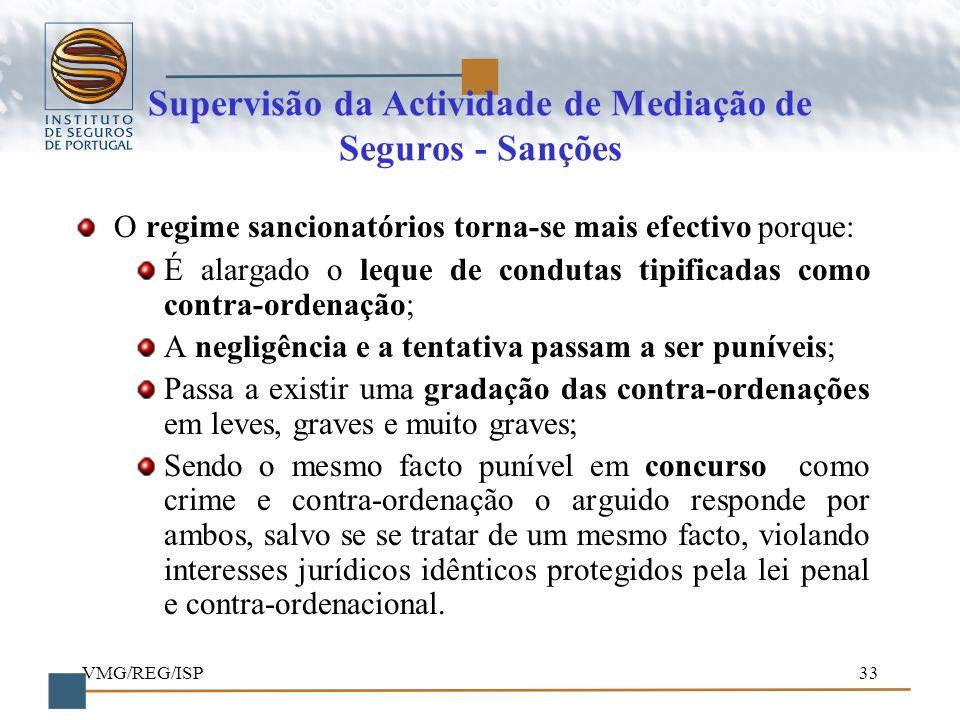 VMG/REG/ISP33 Supervisão da Actividade de Mediação de Seguros - Sanções O regime sancionatórios torna-se mais efectivo porque: É alargado o leque de c