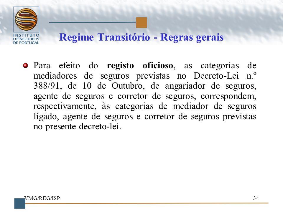 VMG/REG/ISP34 Regime Transitório - Regras gerais Para efeito do registo oficioso, as categorias de mediadores de seguros previstas no Decreto-Lei n.º