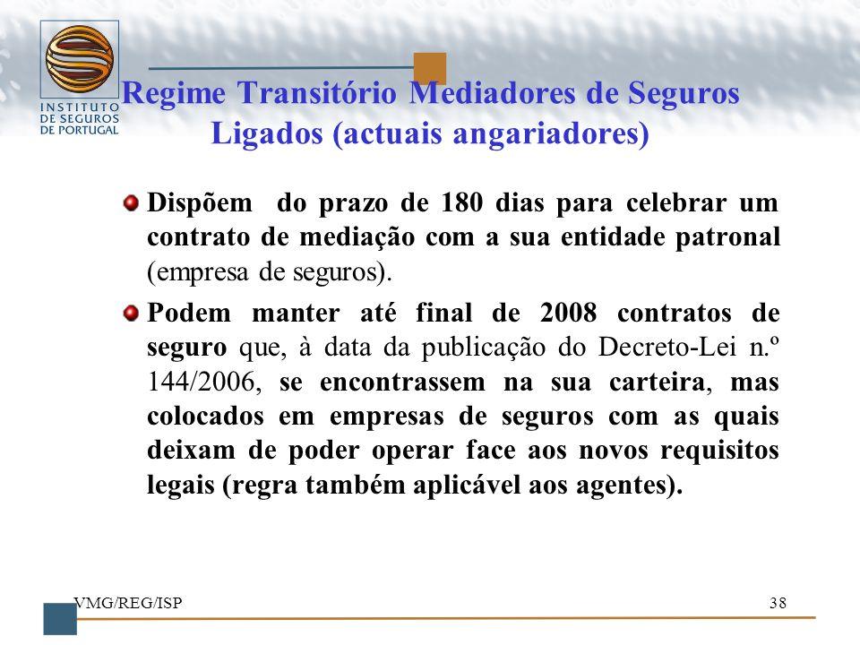 VMG/REG/ISP38 Regime Transitório Mediadores de Seguros Ligados (actuais angariadores) Dispõem do prazo de 180 dias para celebrar um contrato de mediaç