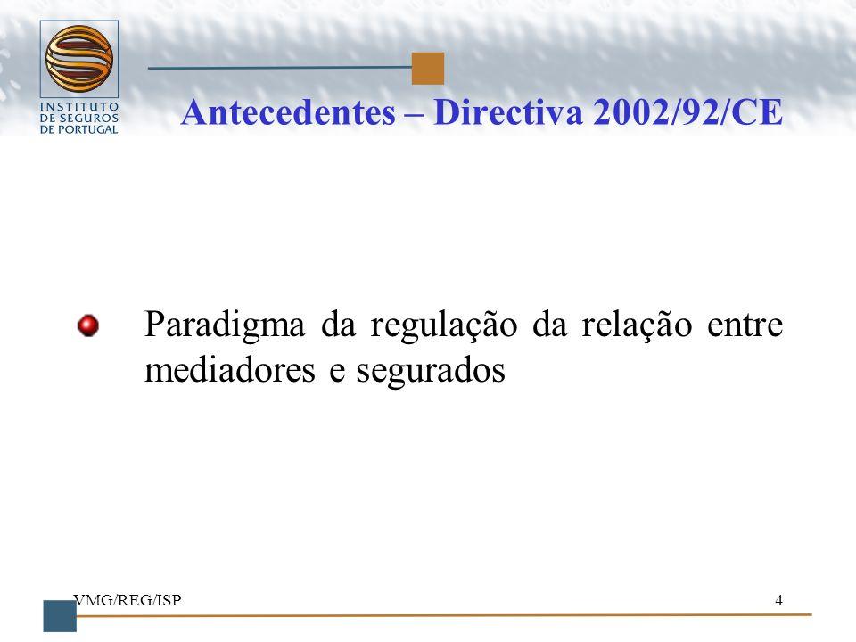 VMG/REG/ISP4 Antecedentes – Directiva 2002/92/CE Paradigma da regulação da relação entre mediadores e segurados