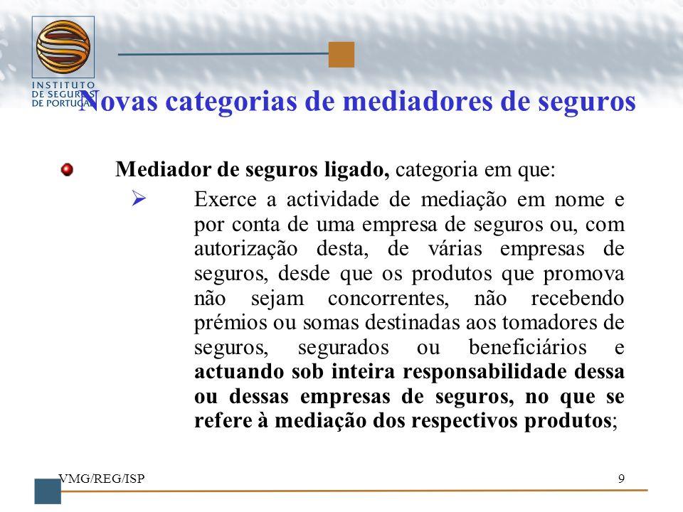 VMG/REG/ISP9 Novas categorias de mediadores de seguros Mediador de seguros ligado, categoria em que: Exerce a actividade de mediação em nome e por con