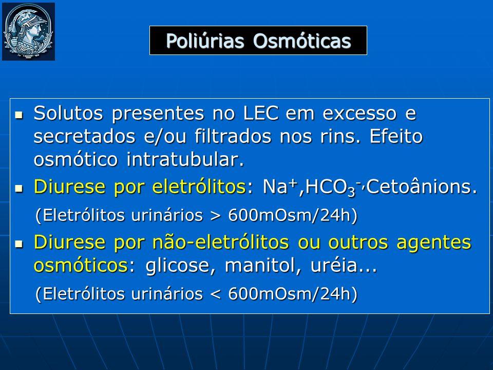 Solutos presentes no LEC em excesso e secretados e/ou filtrados nos rins. Efeito osmótico intratubular. Solutos presentes no LEC em excesso e secretad