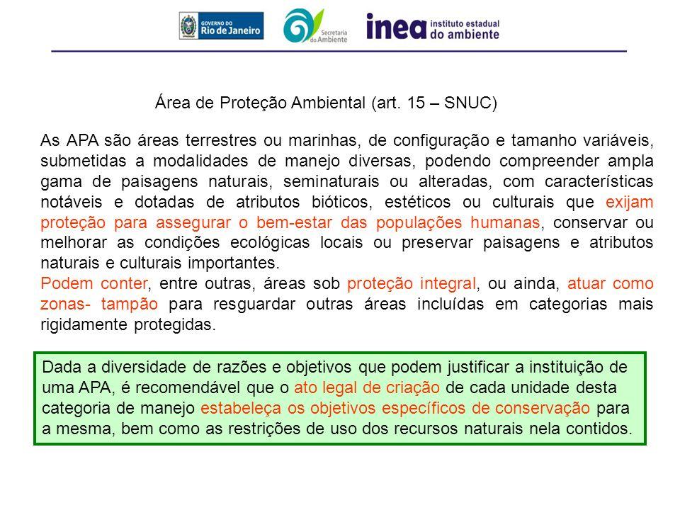 Área de Proteção Ambiental (art. 15 – SNUC) As APA são áreas terrestres ou marinhas, de configuração e tamanho variáveis, submetidas a modalidades de