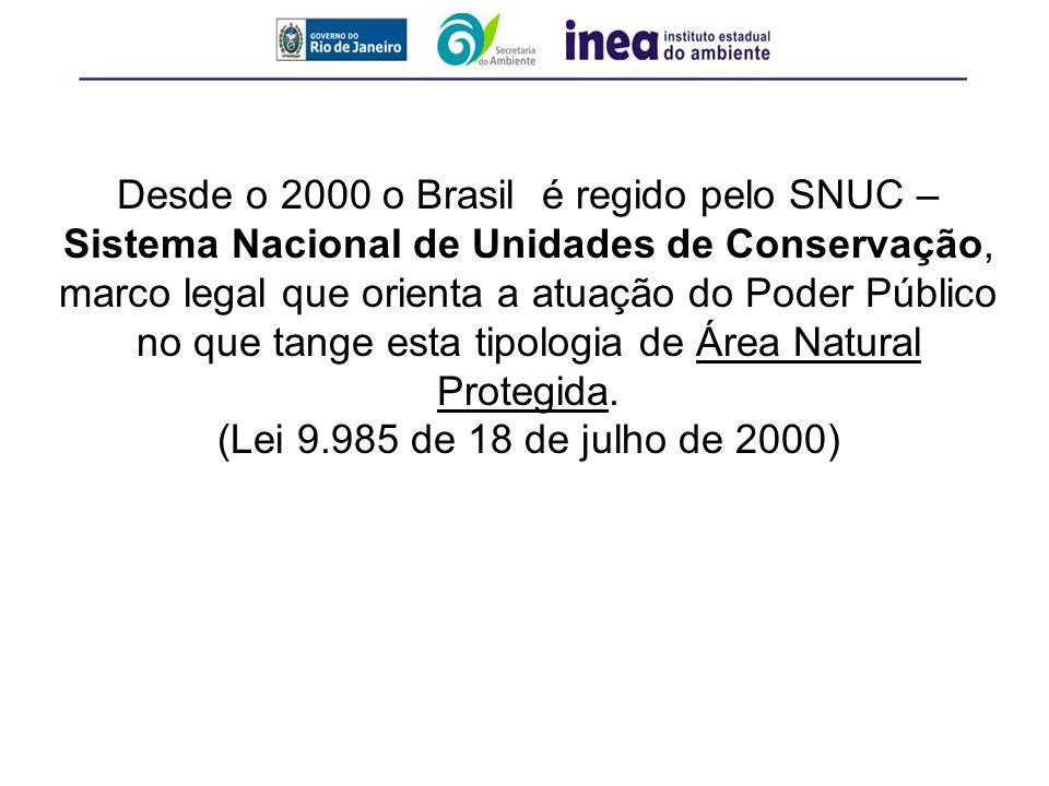 Desde o 2000 o Brasil é regido pelo SNUC – Sistema Nacional de Unidades de Conservação, marco legal que orienta a atuação do Poder Público no que tang