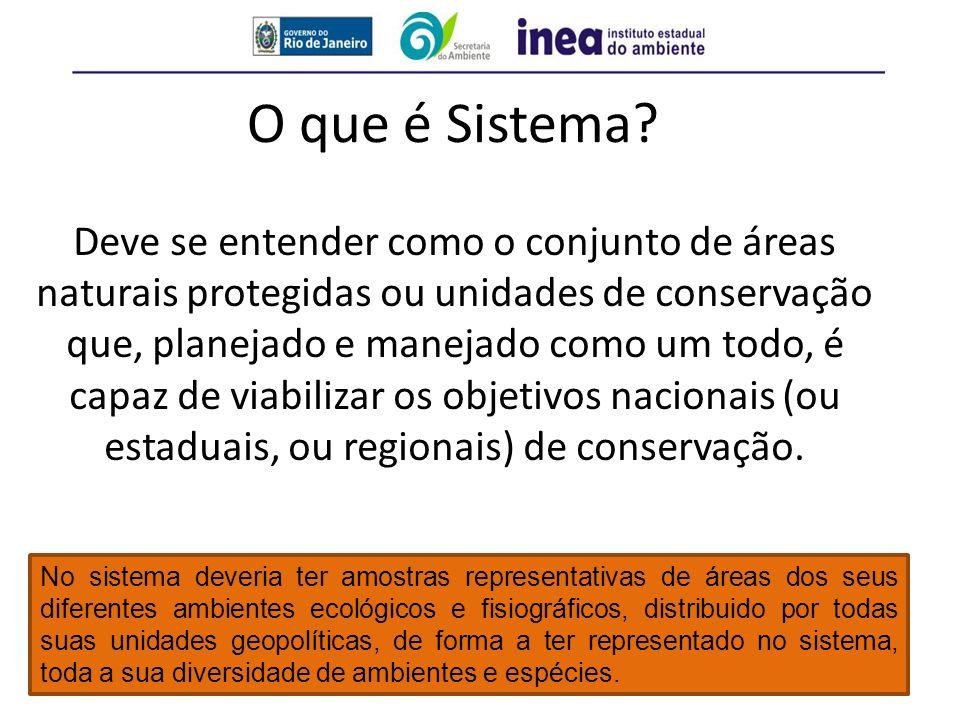 O que é Sistema? Deve se entender como o conjunto de áreas naturais protegidas ou unidades de conservação que, planejado e manejado como um todo, é ca
