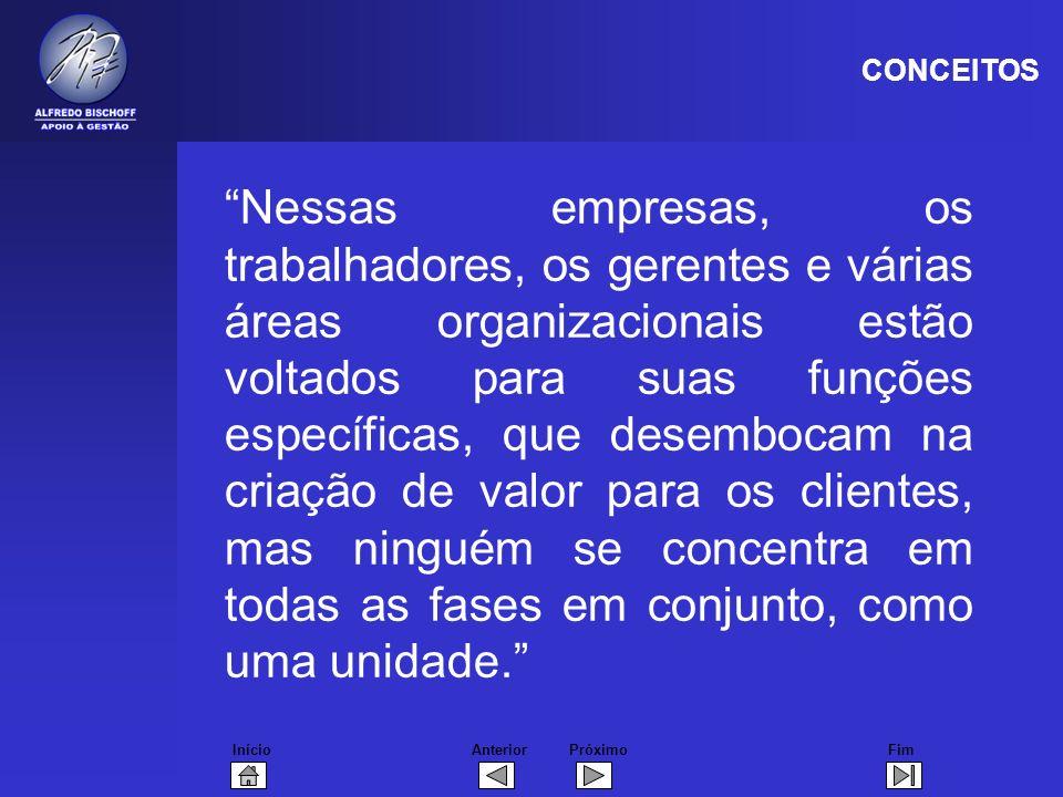 InícioFimAnteriorPróximo Nessas empresas, os trabalhadores, os gerentes e várias áreas organizacionais estão voltados para suas funções específicas, q