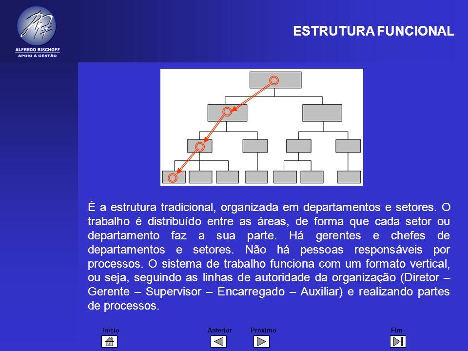 InícioFimAnteriorPróximo É a estrutura tradicional, organizada em departamentos e setores. O trabalho é distribuído entre as áreas, de forma que cada