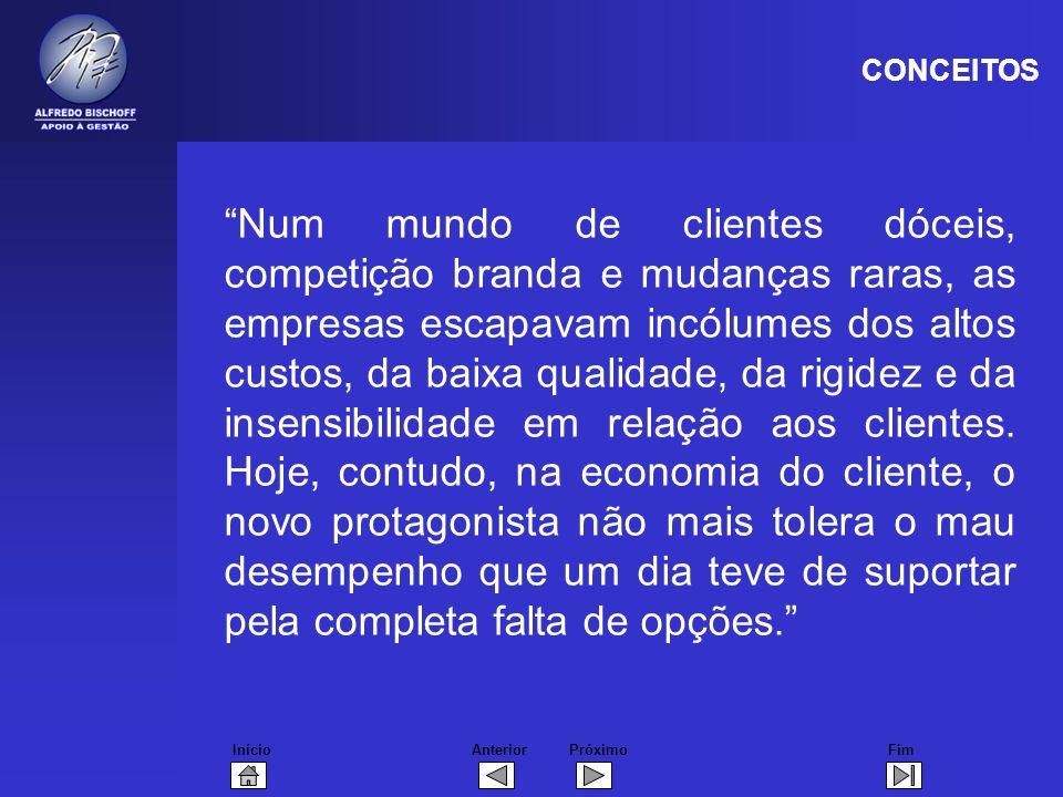 InícioFimAnteriorPróximo Num mundo de clientes dóceis, competição branda e mudanças raras, as empresas escapavam incólumes dos altos custos, da baixa qualidade, da rigidez e da insensibilidade em relação aos clientes.