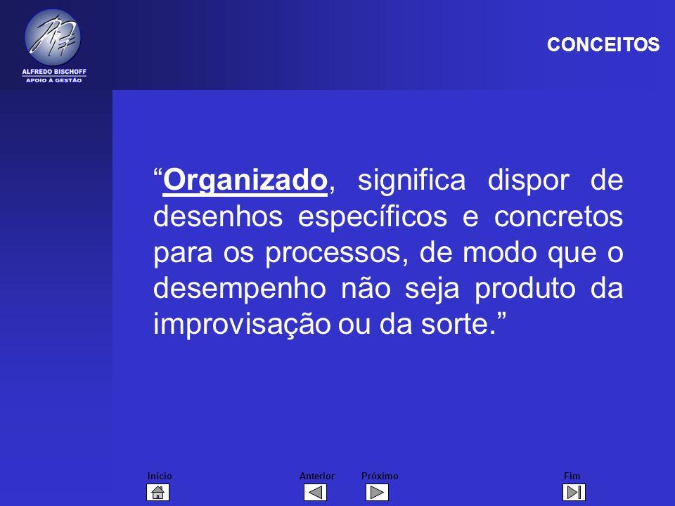 InícioFimAnteriorPróximo Organizado, significa dispor de desenhos específicos e concretos para os processos, de modo que o desempenho não seja produto da improvisação ou da sorte.