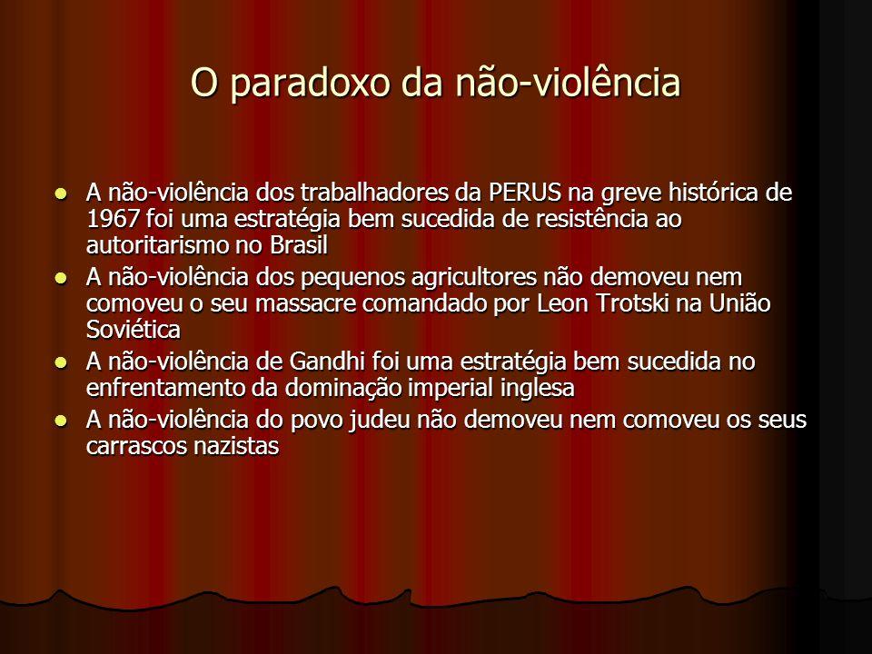 O paradoxo da não-violência A não-violência dos trabalhadores da PERUS na greve histórica de 1967 foi uma estratégia bem sucedida de resistência ao autoritarismo no Brasil A não-violência dos trabalhadores da PERUS na greve histórica de 1967 foi uma estratégia bem sucedida de resistência ao autoritarismo no Brasil A não-violência dos pequenos agricultores não demoveu nem comoveu o seu massacre comandado por Leon Trotski na União Soviética A não-violência dos pequenos agricultores não demoveu nem comoveu o seu massacre comandado por Leon Trotski na União Soviética A não-violência de Gandhi foi uma estratégia bem sucedida no enfrentamento da dominação imperial inglesa A não-violência de Gandhi foi uma estratégia bem sucedida no enfrentamento da dominação imperial inglesa A não-violência do povo judeu não demoveu nem comoveu os seus carrascos nazistas A não-violência do povo judeu não demoveu nem comoveu os seus carrascos nazistas