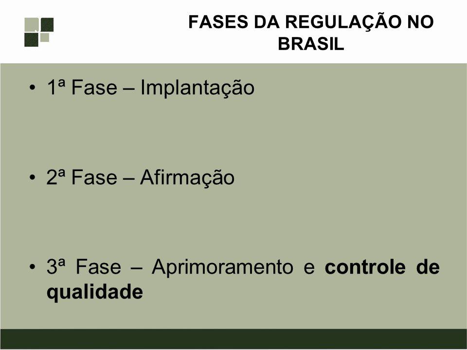 FASES DA REGULAÇÃO NO BRASIL 1ª Fase – Implantação 2ª Fase – Afirmação 3ª Fase – Aprimoramento e controle de qualidade