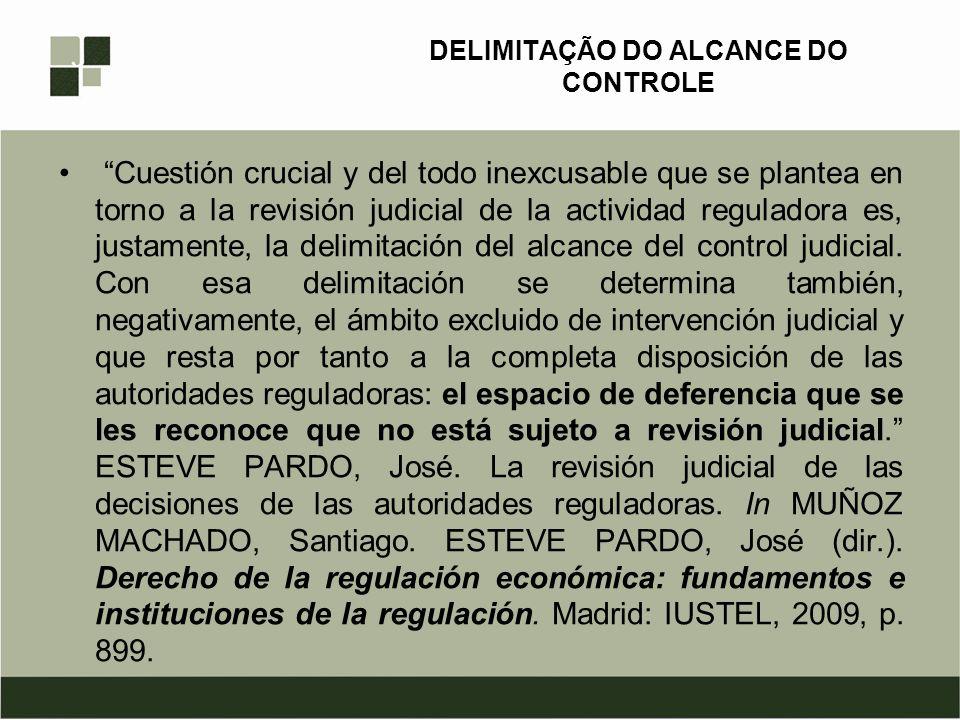 DELIMITAÇÃO DO ALCANCE DO CONTROLE Cuestión crucial y del todo inexcusable que se plantea en torno a la revisión judicial de la actividad reguladora e