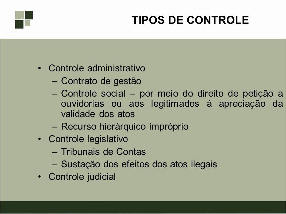 TIPOS DE CONTROLE Controle administrativo –Contrato de gestão –Controle social – por meio do direito de petição a ouvidorias ou aos legitimados à apre