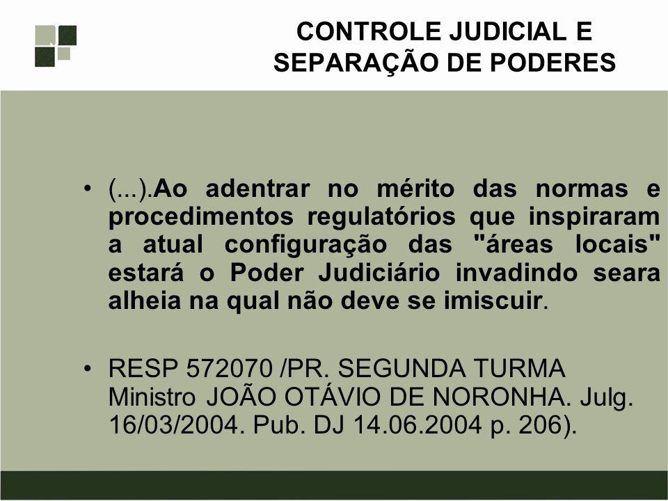 CONTROLE JUDICIAL E SEPARAÇÃO DE PODERES (...).Ao adentrar no mérito das normas e procedimentos regulatórios que inspiraram a atual configuração das