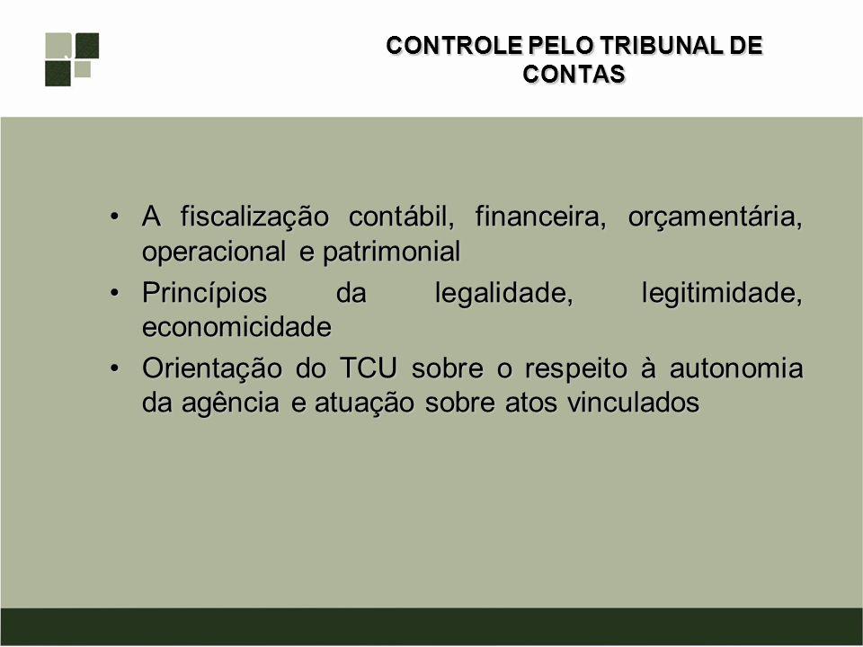CONTROLE PELO TRIBUNAL DE CONTAS A fiscalização contábil, financeira, orçamentária, operacional e patrimonialA fiscalização contábil, financeira, orça