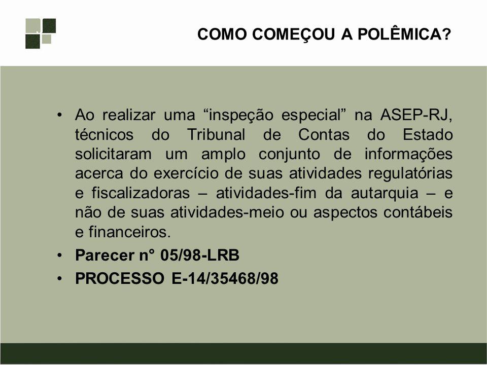 PARECER N° 05/98-LRB Escapa às atribuições dos Tribunais de Contas o exame das atividades autárquicas que não impliquem em dispêndio de recursos públicos, como se pretende na inspeção especial sobre a Agência Reguladora de Serviços Públicos Concedidos do Estado do Rio de Janeiro (ASEP-RJ), que deu ensejo ao presente parecer.