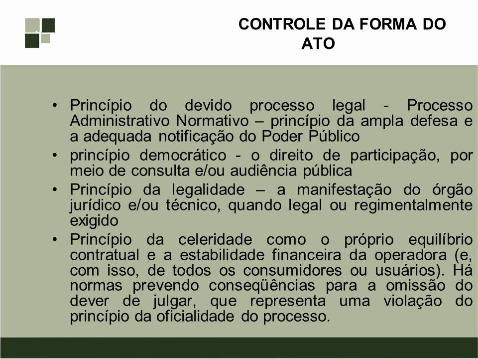 CONTROLE DA FORMA DO ATO Princípio do devido processo legal - Processo Administrativo Normativo – princípio da ampla defesa e a adequada notificação d